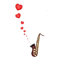 A Musical Bass Saxophone Playing Love Song vector image vector image