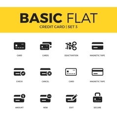 Basic set of credit card icons vector image vector image