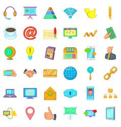 good company icons set cartoon style vector image