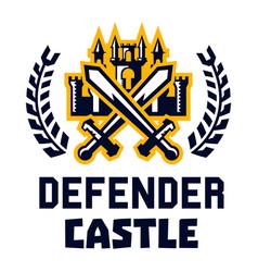logo defender castle fortress tower cross vector image vector image