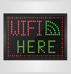 sign of wifi in a retro style with light bulbs vector image