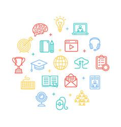 symbol of education online color round design vector image