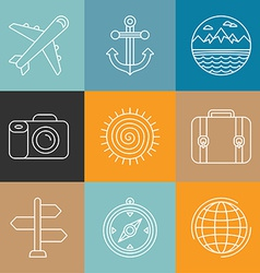travel logos and icons in outline style vector image