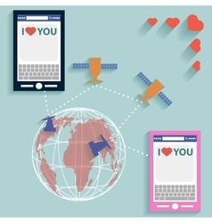 Valentine SMS worldwide flat style vector image