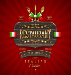 Vintage wooden sign for Italian restaurant vector image