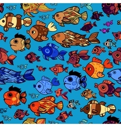 Colorful pattern with cartoon childish fishes vector image