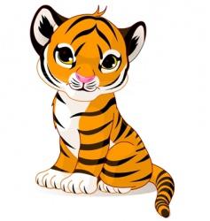 Cute tiger cub vector