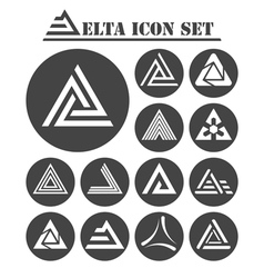 Delta letter icons set vector image vector image