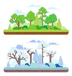 Winter and summer forest scenes in a y flat style vector image