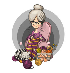 woman granny sits in a chair and knits knitting vector image