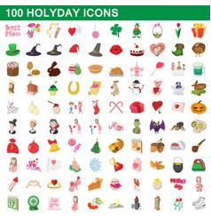 100 holiday icons set cartoon style vector image