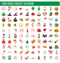 100 holyday icons set cartoon style vector image