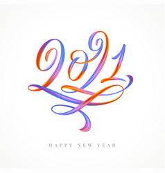 2021 multicolored calligraphy lettering logo vector image