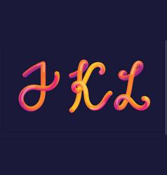 3d gradient lettering font set with letter - i k vector