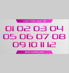3d number template vector image