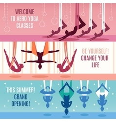 Aero Yoga Horizontal Banner Set vector