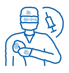 Anesthesiologist medical worker doodle icon hand vector