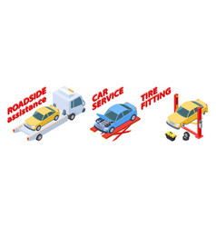Auto service isometric roadside assistance tire vector