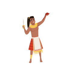 aztec warrior man character in traditional clothes vector image