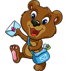 Bear postman on a white background vector image