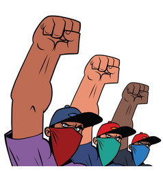 black life matters multiethnic group masked vector image