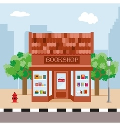 Bookstore and trees on the background of the city vector