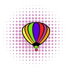 Bright air balloon icon comics style vector image