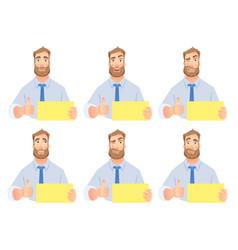businessman holding blank sign set vector image