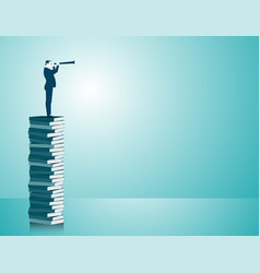 businessman standing on books vector image