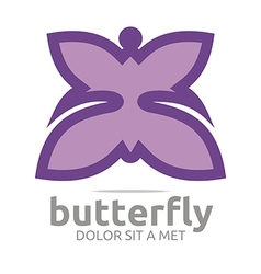 Butterfly leaf purple insect spring symbol vector
