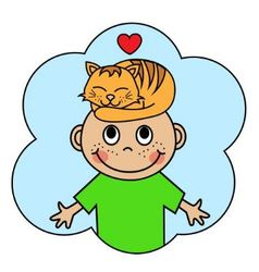 Cartoon boy and sleeping orange cat vector