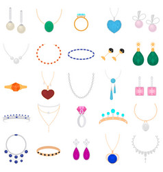 cartoon color different type jewelry set vector image