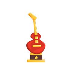 Cartoon music award in form of electric guitar vector