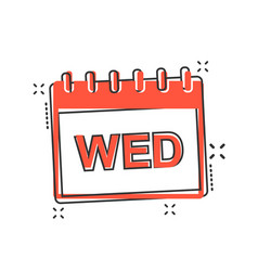 cartoon wednesday calendar page icon in comic vector image
