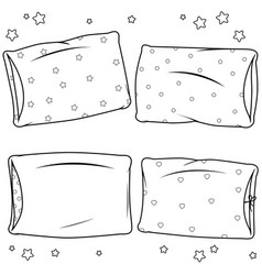 children pillows collection black and white col vector image