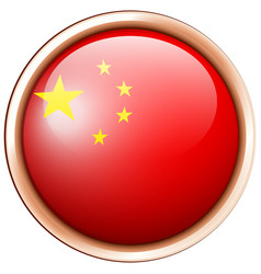 china flag flag on round frame vector image vector image