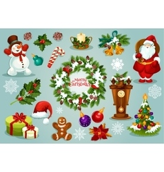 Christmas and New Year holiday cartoon icon set vector