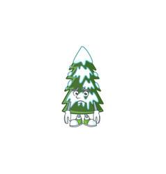 Christmas tree snow cartoon character showing vector