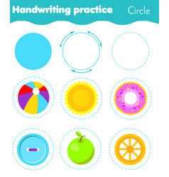 Circle form objects handwriting practice vector