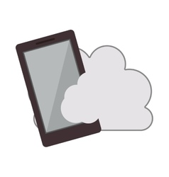 cloud with smartphone icon vector image
