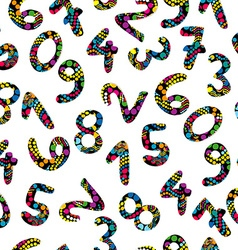 Colorful numbers seamless pattern vector image