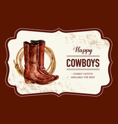 Cowboy frame design with boots rope watercolor vector