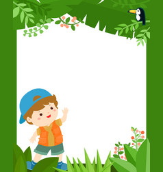 cute boy in the jungle frame for kids vector image