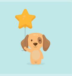 Cute dog holding balloon free vector