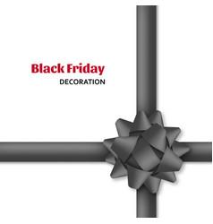 decorative black bow with dark ribbons gift box vector image
