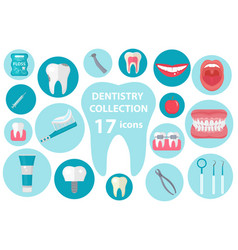 dental icon set flat style stomatology kit vector image