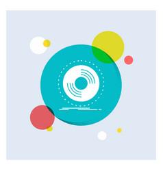 disc dj phonograph record vinyl white glyph icon vector image