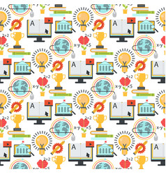Distant learning seamless pattern background vector