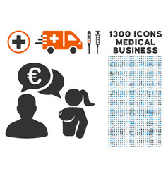 Euro adult chat icon with 1300 medical business vector