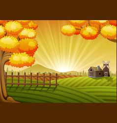 farm cartoon landscape vector image